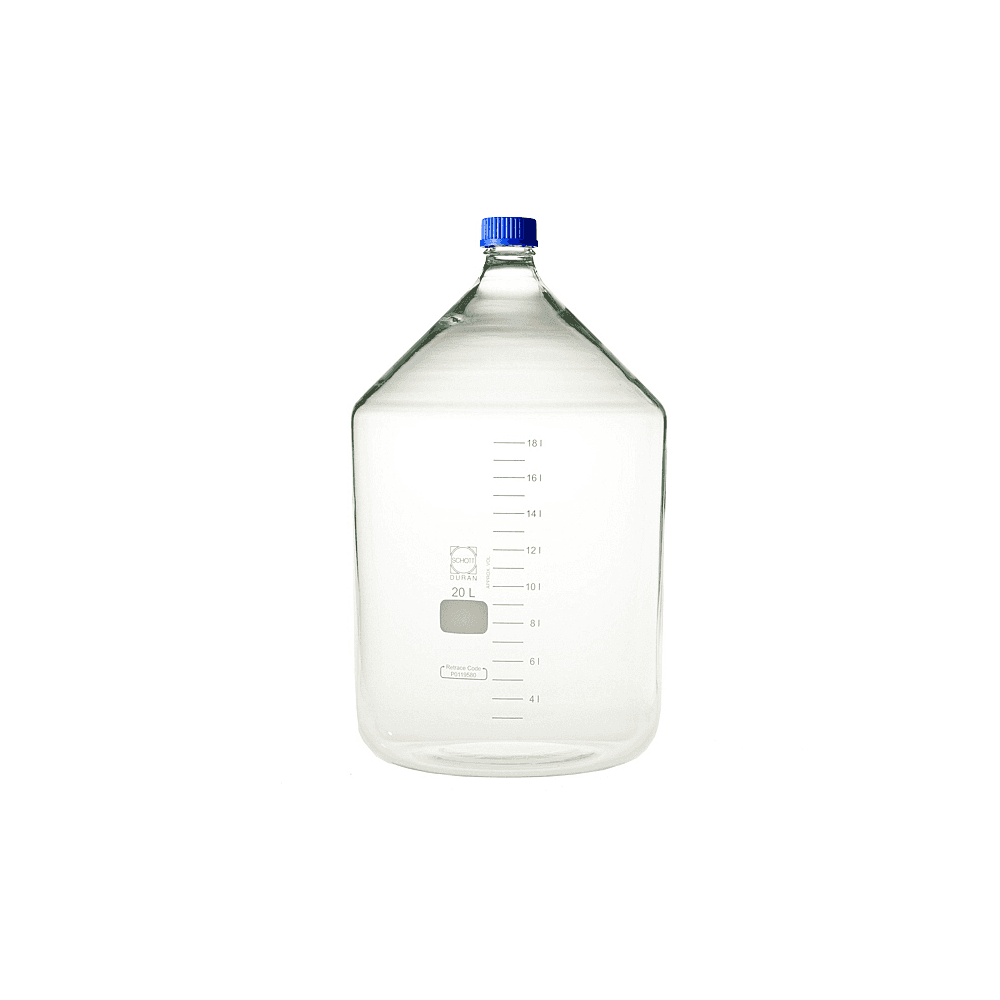 Schott Duran Original round GL45 clear borosilicate glass laboratory bottle  with blue polypropylene screw cap and pouring ring 25000ml capacity