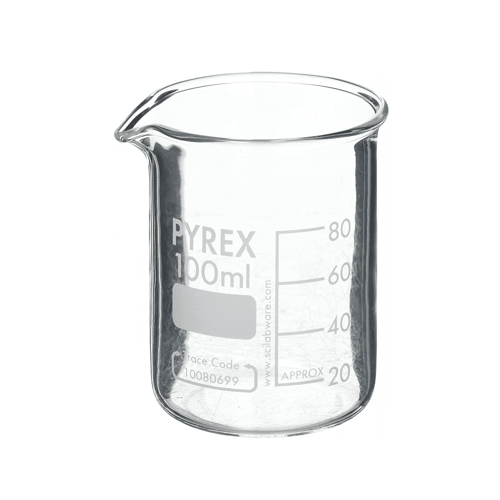 Pyrex low form Griffin clear borosilicate glass beaker with spout 50ml  capacity